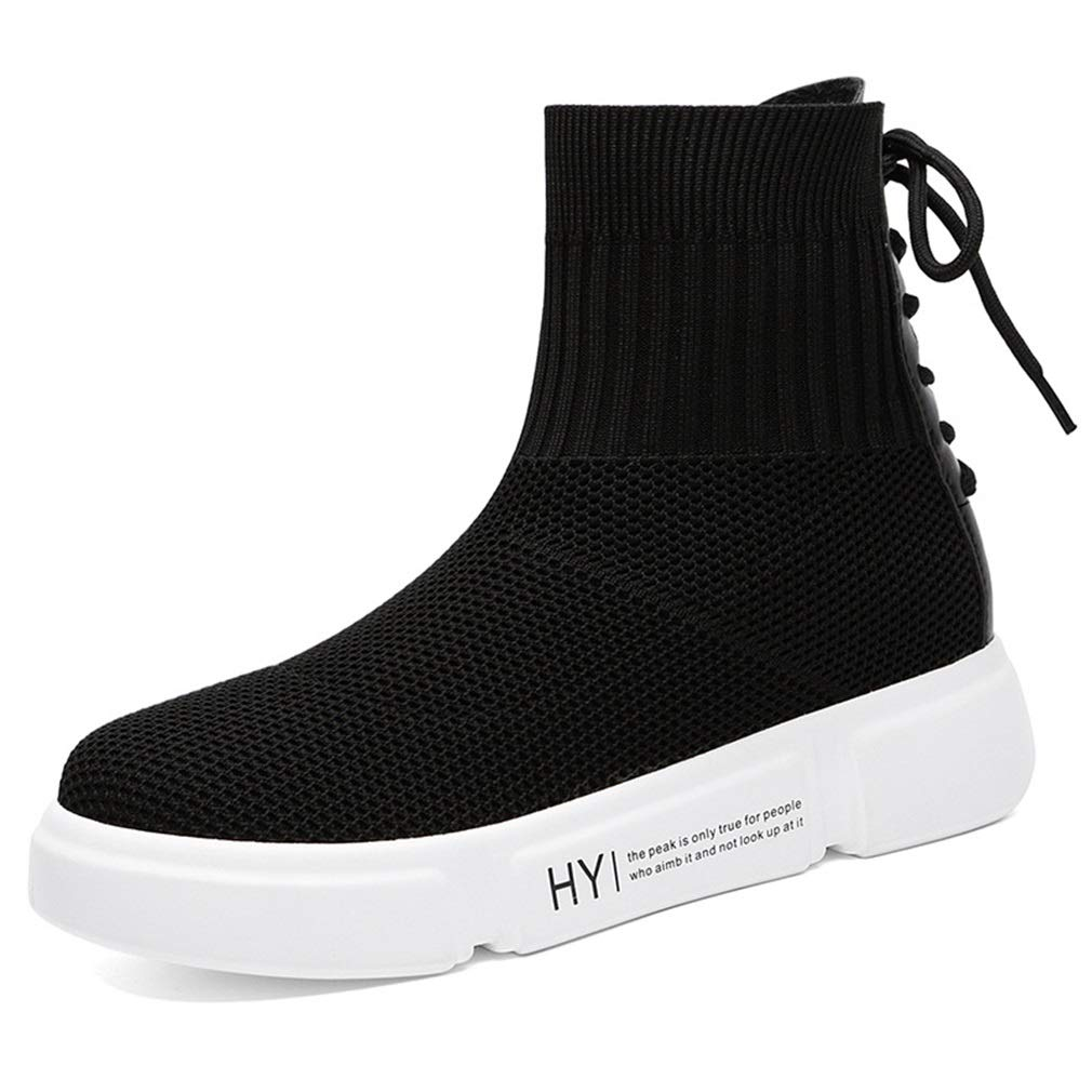 Women's Boots, Spring Fall Elastic Fabric Lazy Shoes, High-top Socks Shoes,Thick Bottom Knit Breathable Shoes, Casual Shoes (Color : B, Size : 35) YAN