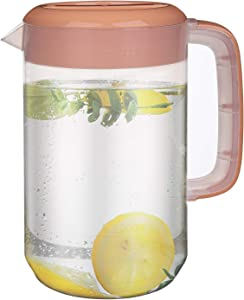 Jucoan 1 Gallon /4L Large Plastic Straining Pitcher, Clear Water Carafe Jug Juice Mixing Pitcher with 2 Strainers Cover, Handles, Measurements, BPA Free, Perfect for Ice Tea, Lemonade