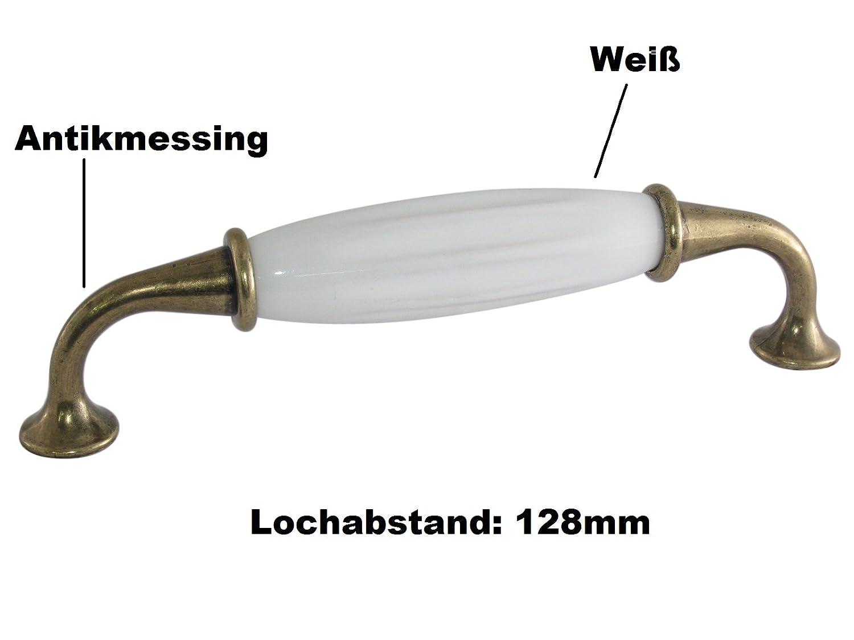 Schrankgriff M/öbelgriff K/üchengriff Griff Porzellan Lochabstand 64mm Schwarz Reinwei/ß