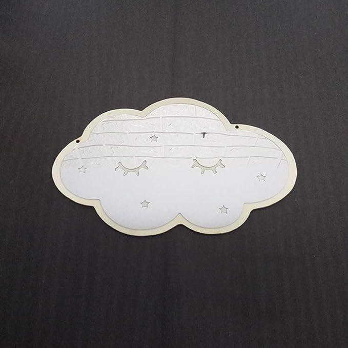 PRENKIN Cloud Forme Miroir de Bricolage Acrylique Cartoon Bois Suspendu Chambre denfants Hanging Mirror Accueil Enfants Chambre D/écoration