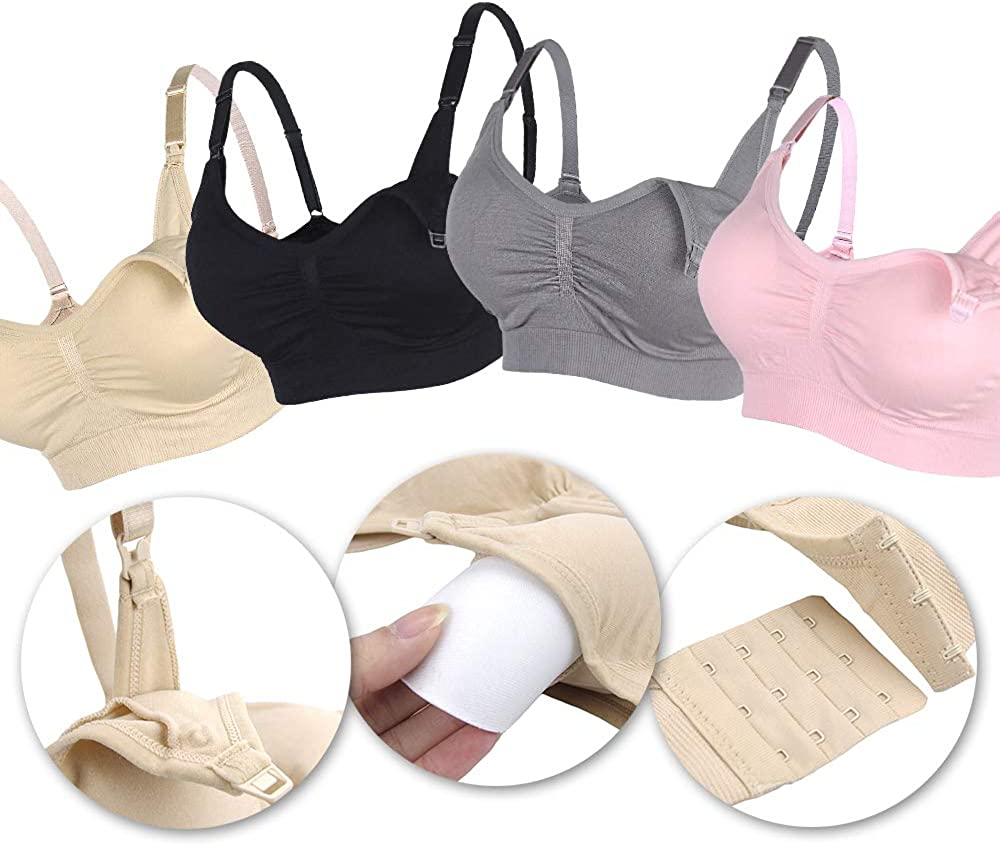 Extenders /& Clips STELLE Body Silk Seamless Maternity Nursing Bra with Pads