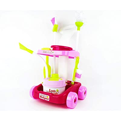 MeeYum Pretend Play Kids Little Helper Cleaning Trolley Cart with Vacuum, Broom, and Supplies; Includes Scrub Brush, Shovel and Accessories: Toys & Games