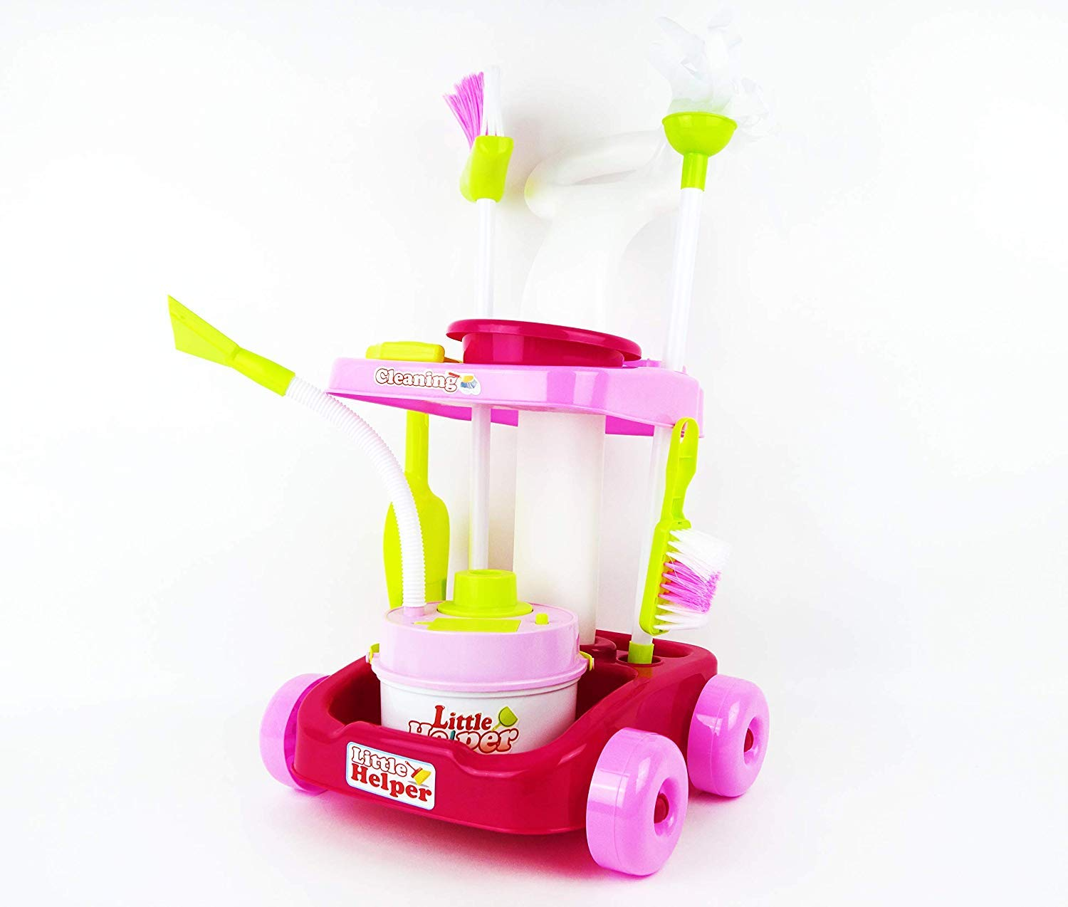 MeeYum Pretend Play Kids Little Helper Cleaning Trolley Cart with Vacuum, Broom, and Supplies; Includes Scrub Brush, Shovel and Accessories by MeeYum