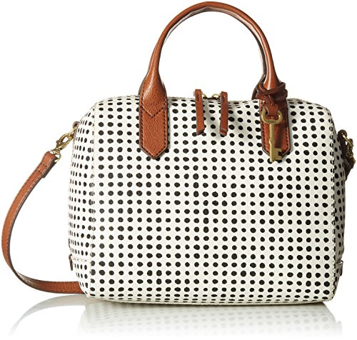 Fossil Fiona Satchel Handbag, Black/White Grid Dot by Fossil