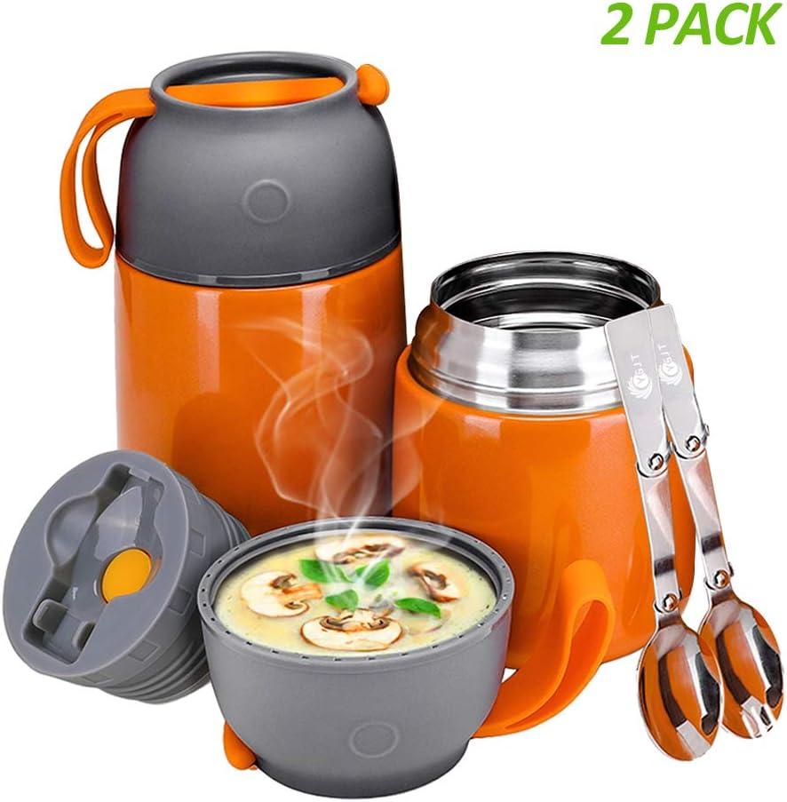 700ml R/écipient Alimentaire isol/é Bo/îte /à Lunch Thermos pour Enfants//Adultes avec Cuill/ères Pliables Isol/é Orange YGJT Bo/îtes Alimentaires Isothermes Lot de 2 500ml