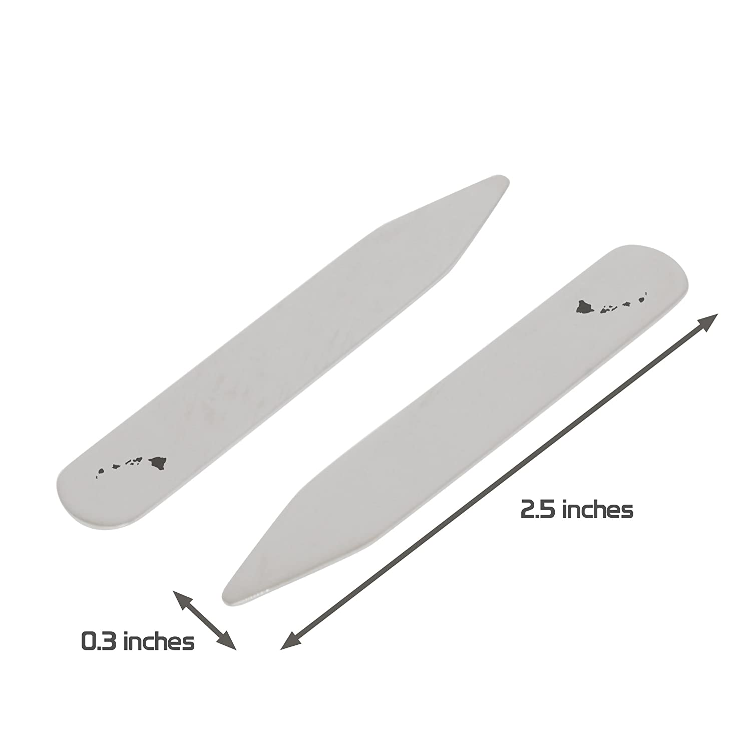 Made In USA 2.5 Inch Metal Collar Stiffeners MODERN GOODS SHOP Stainless Steel Collar Stays With Laser Engraved Hawaii Design