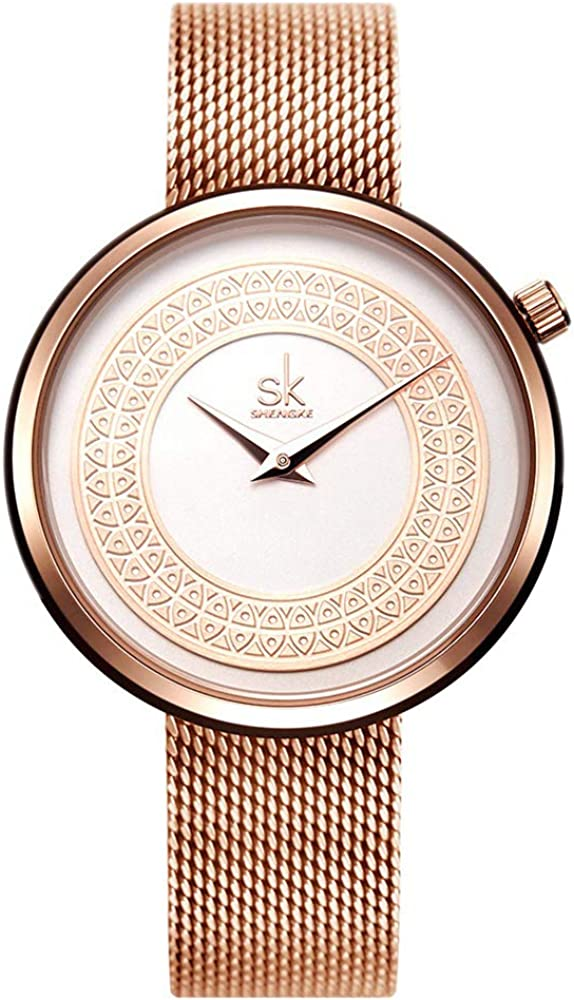 SK SHENGKE Female Mesh Watches Simple Face Stainless Steel Back Case Fashion Ladies Wristwatch