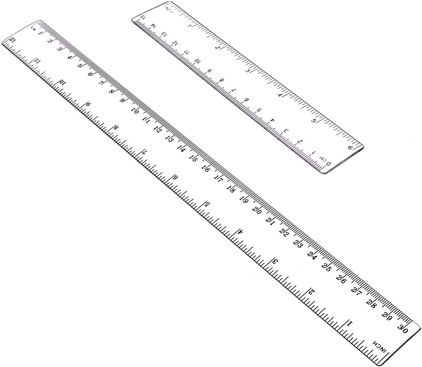 Amuoc Stainless Steel Ruler and Metal Rule Kit with Conversion Table Silver, 12 Inch, 6 Inch