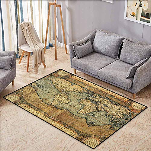 Large Area Rug,Wanderlust Decor Collection,16th Century Map of The World History Adventure Boundaries Cartography Civilization Image,Anti-Static, Water-Repellent Rugs,3'3
