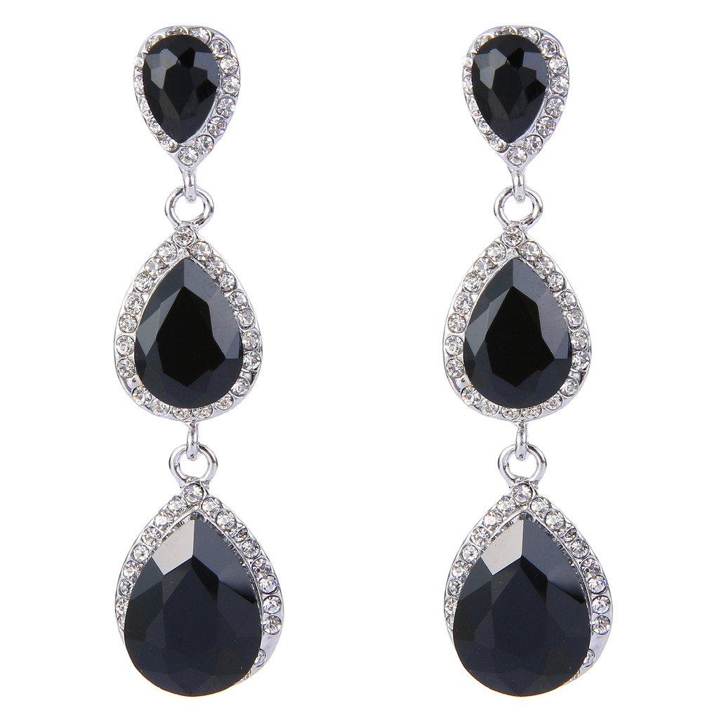 3940001dc Amazon.com: EleQueen Women's Silver-tone Austrian Crystal Tear Drop Pear  Shape Long Earrings Black: Jewelry