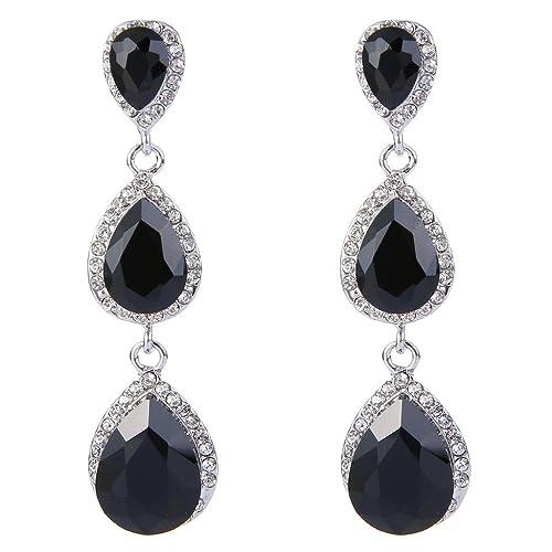 f89bd852f EleQueen Women's Silver-tone Austrian Crystal Tear Drop Pear Shape Long  Earrings Black