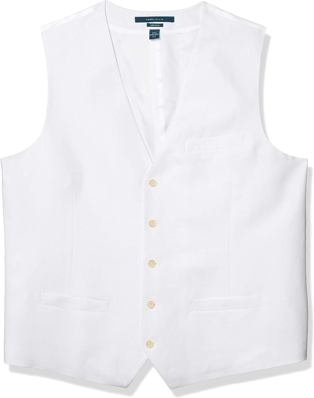 Perry Ellis Mens Big and Tall Linen Suit Vest Perry Ellis Men/'s Sportswear 4AHV4650