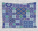 Ethnic Tapestry, Traditional Mosaic Azulejo Portuguese Cultural Ceramic Tiles Folk Design, Wall Hanging for Bedroom Living Room Dorm, 60 W X 40 L Inches, Teal Indigo Navy Blue