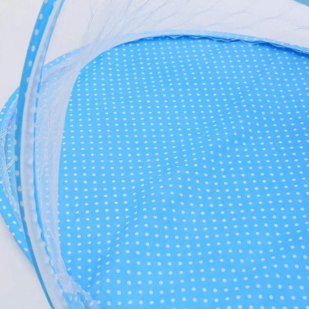 Portable Baby Travel Tent UPF 50 Blue, 110x60x38cm Infant Sun Shelters Pop Up Folding Travel Bed Mosquito Net Sunshade Large Baby Beach Tent