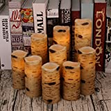 Antizer Flameless Candles Battery Operated Candles Birch Bark Effect 4'' 5'' 6'' 7'' 8'' 9'' Set of 9 Ivory Real Wax Pillar LED Candles with Real Wax Pillar with 10-Key Remote Control 2/4/6/8 Hours Timer