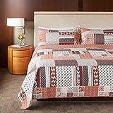 SLPR Homespun Happiness 3-Piece 100% Cotton Lightweight Printed Quilt Set (King) | with 2 Shams Machine Washable All-Season Bedspread Coverlet