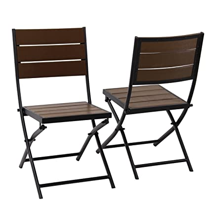 PHI VILLA Patio Outdoor Portable Bistro Chair Set Porch Folding Dining Chairs  Metal Frame,