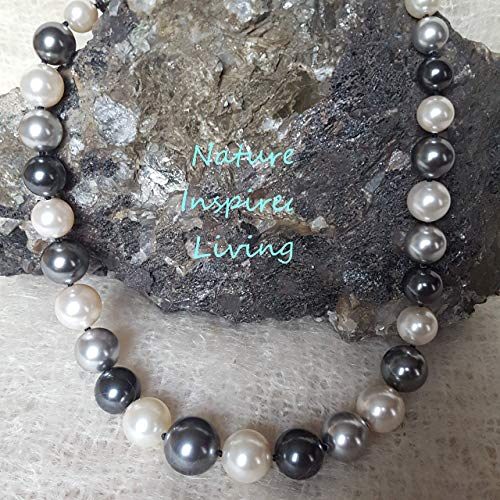 20 inch Gray and White Multi color Pearl Necklace Hand Knotted graduated 10 to 16mm Simulated Swarovski Pearls Made in the ()