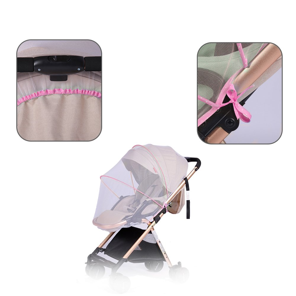 Topwon Universal Full Cover Baby Mosquito Net/Insect Mesh Netting Fits Most Strollers Bassinets, Cradles Chair seat and Car Seats Safe Elastic Design - Pink by Topwon (Image #2)