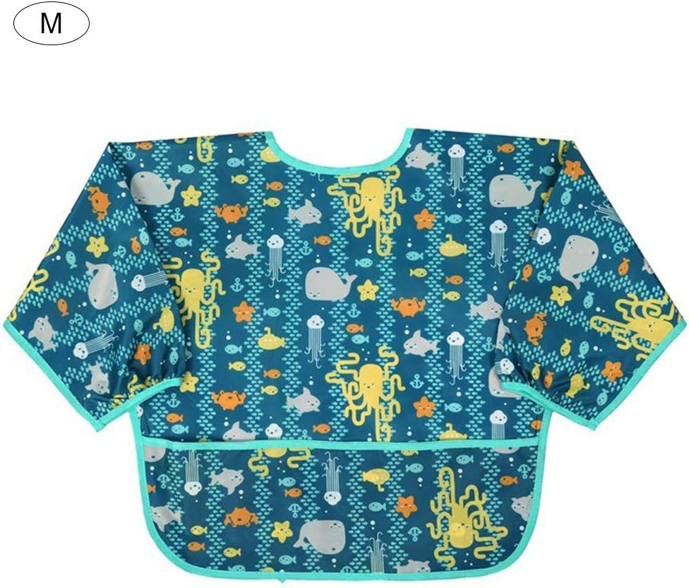 Baby Bibs with Pocket Sleeved Durable Waterproof Washable Full Coverage Stain and Odor Resistant Toddler Bibs 1-5 Years