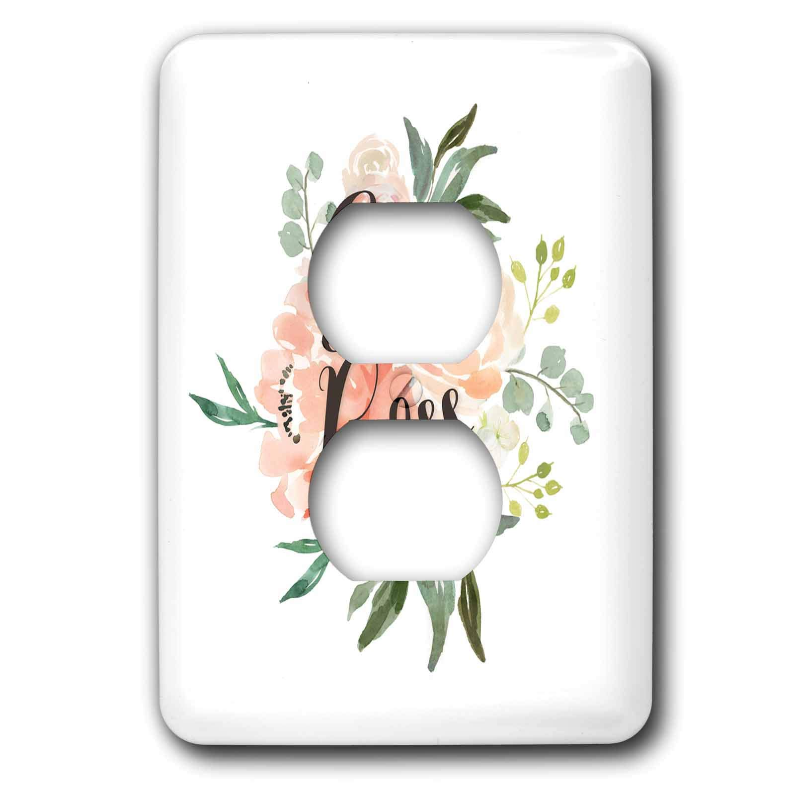 3dRose Becky Nimoy Stationery – Women - Girl Boss in Modern Calligraphy over Spring Watercolor flowers - Light Switch Covers - 2 plug outlet cover (lsp_289195_6)