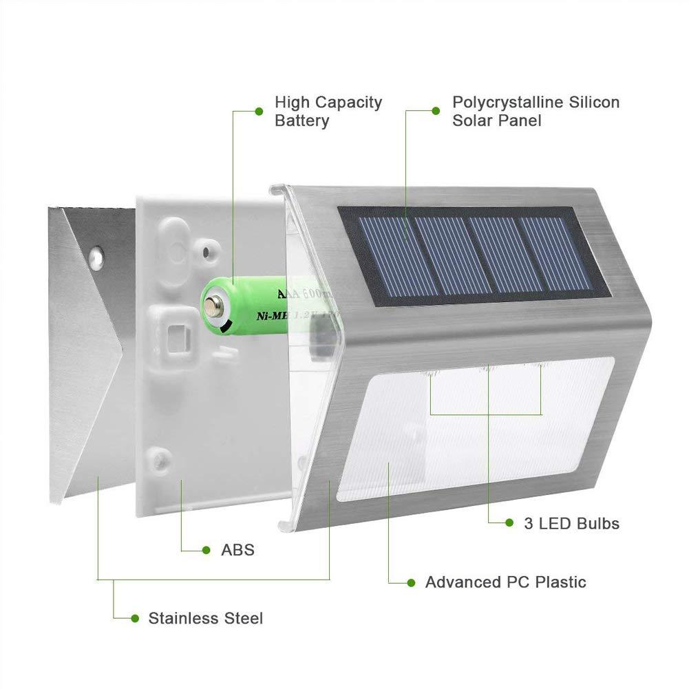 4X Luces Solares de Jardin,Luz Solar de escaleras,Foco Solar de Valla Jardin,Lamparas 3 LED Solares,Farolas Exteriores de Led: Amazon.es: Iluminación