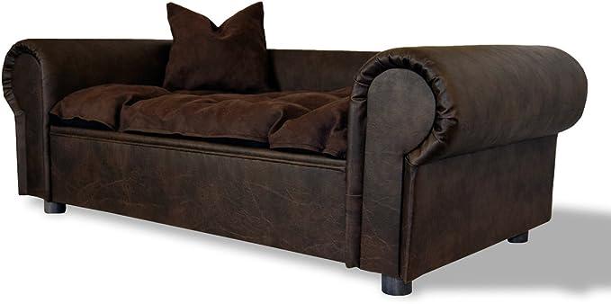 Perros sofá cama Columbus Chesterfield de piel de búfalo XXL Café ...