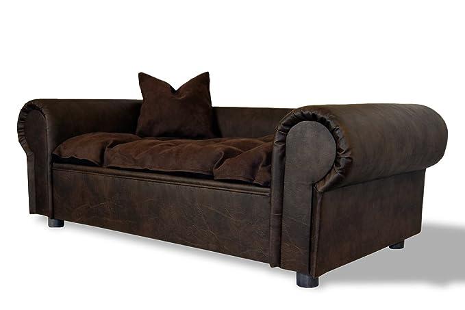 Perros sofá cama Columbus Chesterfield de piel de búfalo XXL ...