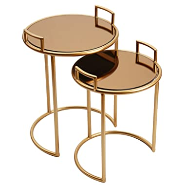 Adeco FT0265 Decorative Nesting Round Side Accent Plant Stand Chair for Bedroom, Living Room and Patio, Set of 2 End Tables, Rose Gold,Brown Glass