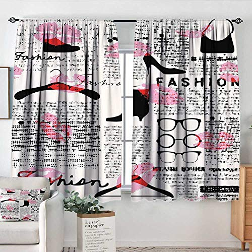 - Elliot Dorothy Print Pattern Curtains Old Newspaper Decor,Fashion Elements Kisses Lipstick Glasses Shoes Hangers,Scarlet Baby Pink Black,for Room Darkening Panels for Living Room, Bedroom 42