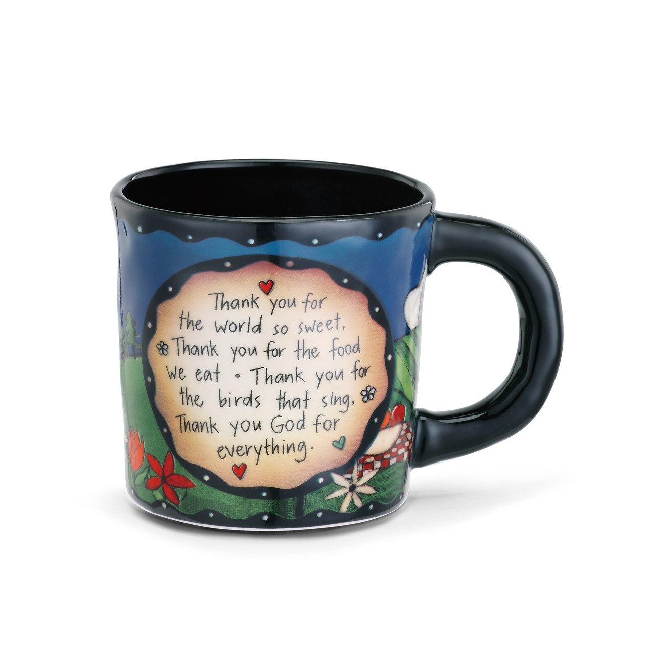 Prayer Home Thank You God Black 12 Ounce Glossy Stoneware Mug With Handle