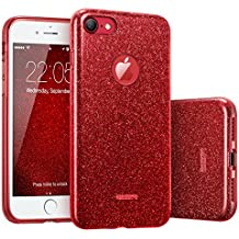 "ESR iPhone 7 Case,Glitter Sparkle Bling Case [Three Layer] for Girls Women [Shock-Absorption] for 4.7"" iPhone 7 (2016 Release)(Red)"