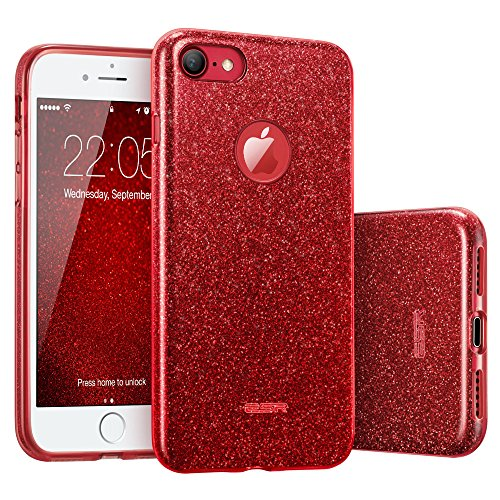 iPhone 7 Case, ESR Glitter Sparkle Bling Case with Three Layer Structure [Slim Fit] for Apple 4.7″ iPhone 7 (2016 Release)(Red)