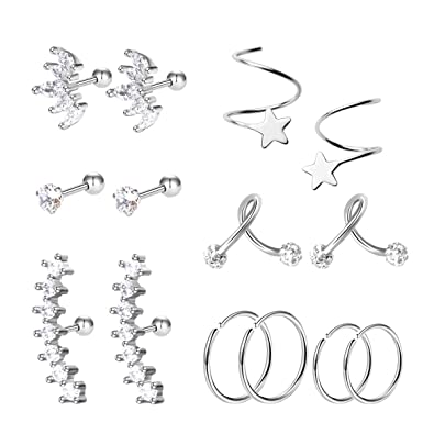 10 Styles Yaomiao 10 Pairs Stainless Steel Cartilage Earrings Tragus Helix Earrings Barbell Cartilage Stud for Women Girls