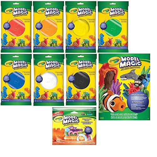 Crayola Model Magic Bundle - Set of 7 Color Pouches, Shape N Cut Tools Set & Idea Book