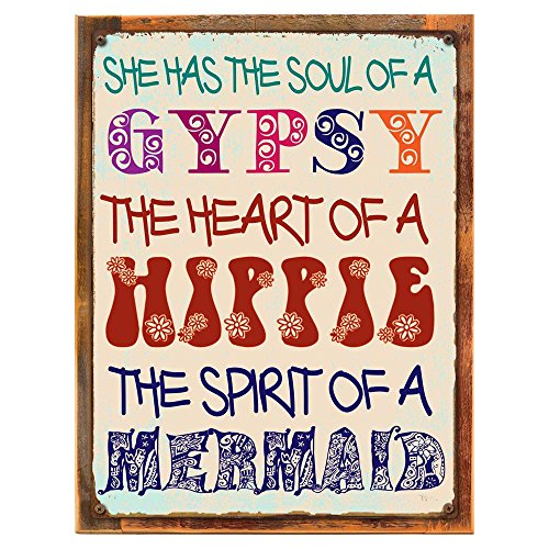 Cheap Homebody Accents ® Wood-Framed Gypsy Soul Metal Sign, Boho, Yoga, Positive Living, Good Vibes on reclaimed, rustic wood