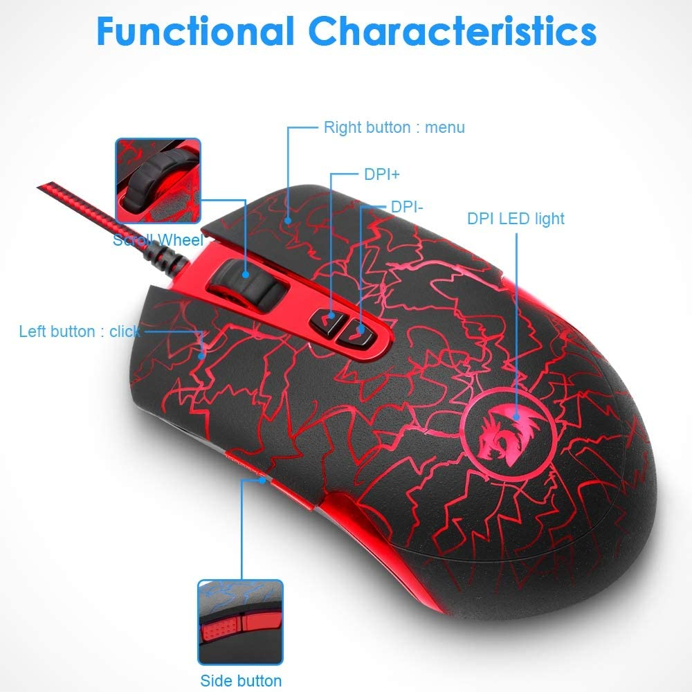6-Color LED Backlight 4 Files DPI Adjustable YUEF Wired Gaming Mouse Ergonomic Design Comfortable and Convenient 6400DPI Optical Gaming Mouse