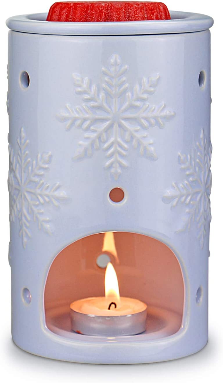 STAR MOON Ceramic Tealight Candle Holder Fragrance Candle Warmer for Decoration/Aromatherapy in Home/Dorm/Office - Cambridge Blue Snowflakes