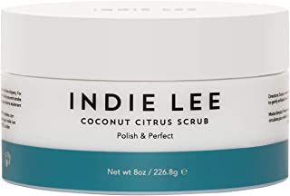 product image for Indie Lee Coconut Citrus Body Scrub - Hydrating Shower + Bath Exfoliator with Cane Sugar + Jojoba Oil for Removing Dead Skin - Great for Rough, Dry Skin - Use on Legs, Elbows, Hands (8oz / 226.8g)