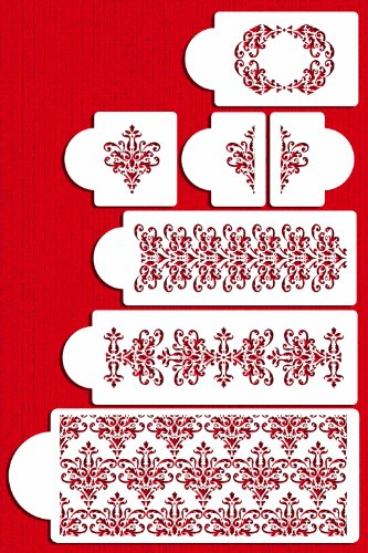 Designer Stencils C367 Five Tier Lace Set Cake Stencil, Beige/semi-transparent by Designer Stencils