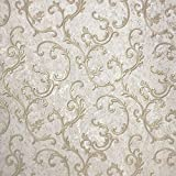 Paste The Wall only Embossed Slavyanski Modern wallcoverings roll Victorian Plaster Effect Damask Pattern Vinyl Non-Woven Wallpaper Ivory Pearl Silver Gold Metallic Textured Glitters 3D Vintage Style
