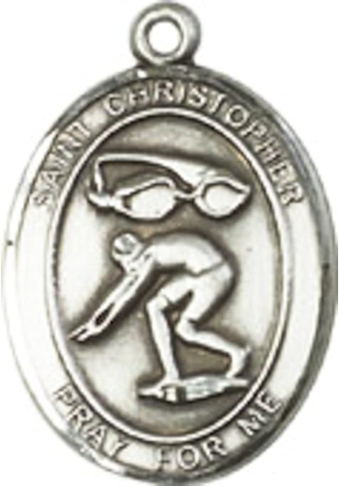 Bonyak Jewelry St Figure Skating Hand-Crafted Oval Medal Pendant in Sterling Silver Christopher