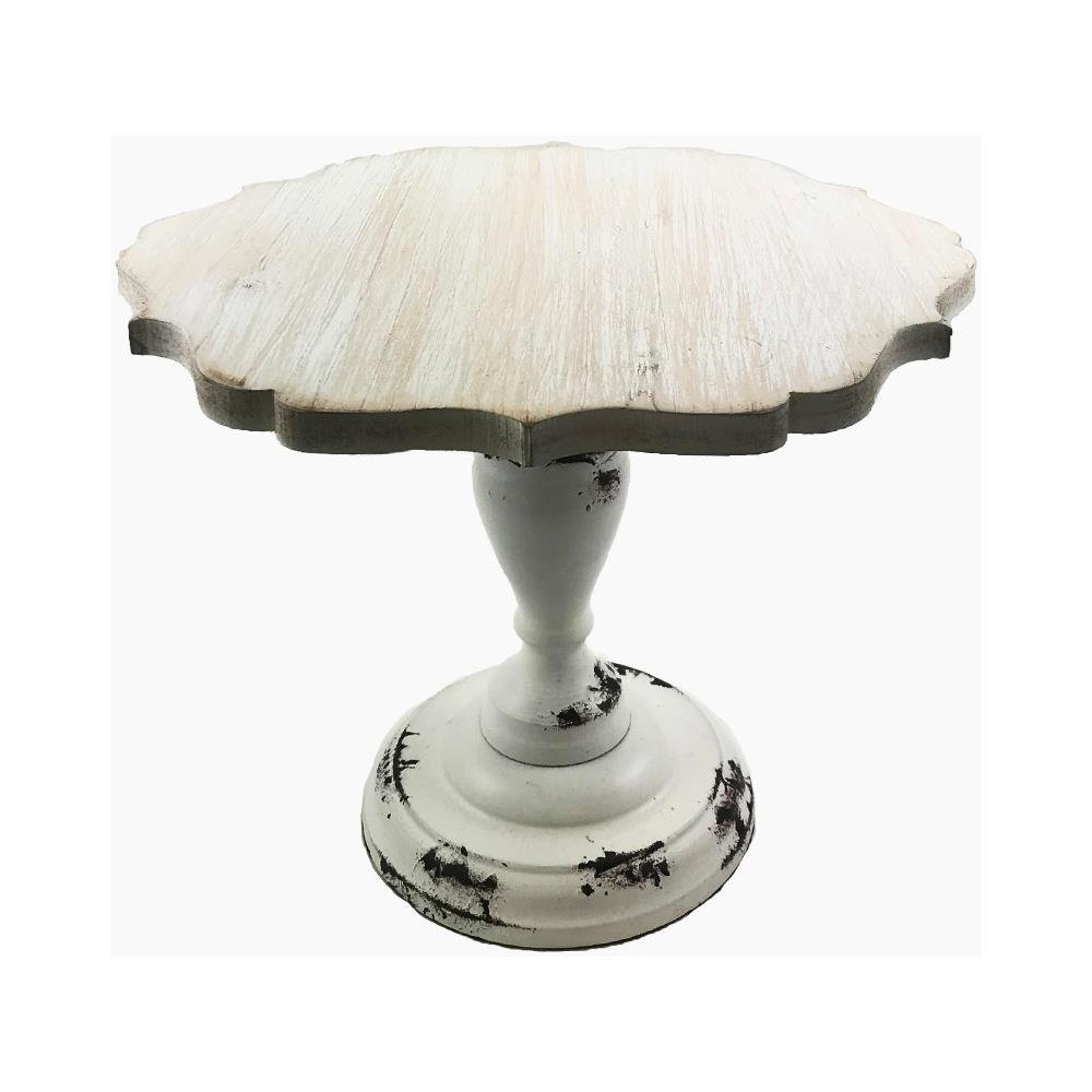Hampton Art Cake Pedestal Stand Wood Vintage Wedding Cake Stand Cupcakes Cakes Assorted Size Large Small Medium (Large Scallop 11.8X11.8X9.4H, White wood) ÿ