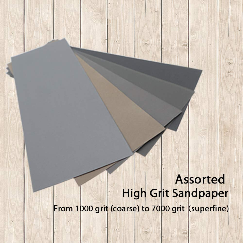 High Grit 1000//2000//3000//5000//7000 Sandpaper Sheets Assortment for Wood Metal Polishing Automotive Sanding 20Pcs Wet Dry Sandpaper 9 x 3.6 inch by BAISDY