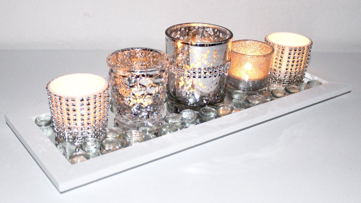Kerzentablett Teelichthalter Set Mit 5 X Glas Windlicht