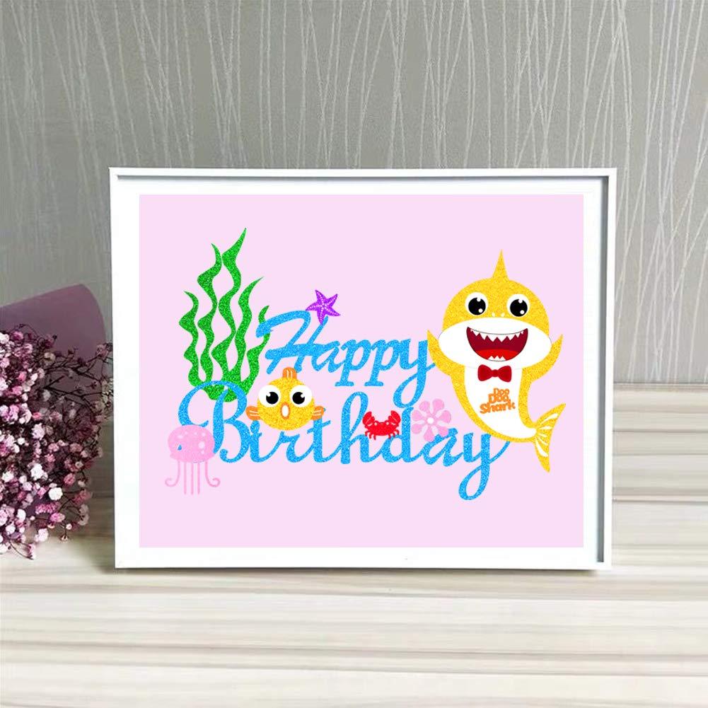 Mity rain Cute Shark Cake Topper Birthday Cake Picks Cake Decorations for Baby Shower Birthday Party Supplies