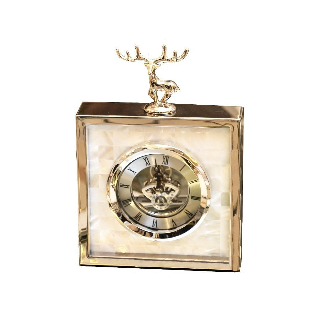 ZAZAZA Health UK Clock- Clock Metal Silver Alloy Shell Fawn Romantic Mute Classical Sitting Bell Eco-Friendly Desktop Clock Welcome