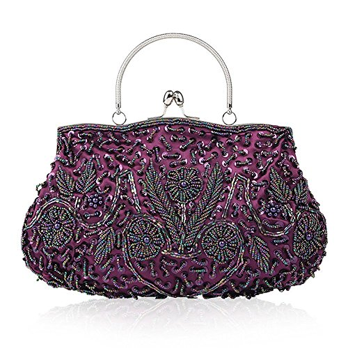 EROUGE Beaded Sequin Design Flower Evening Purse Large Clutch Bag (Beaded Purse Handbag Bag)