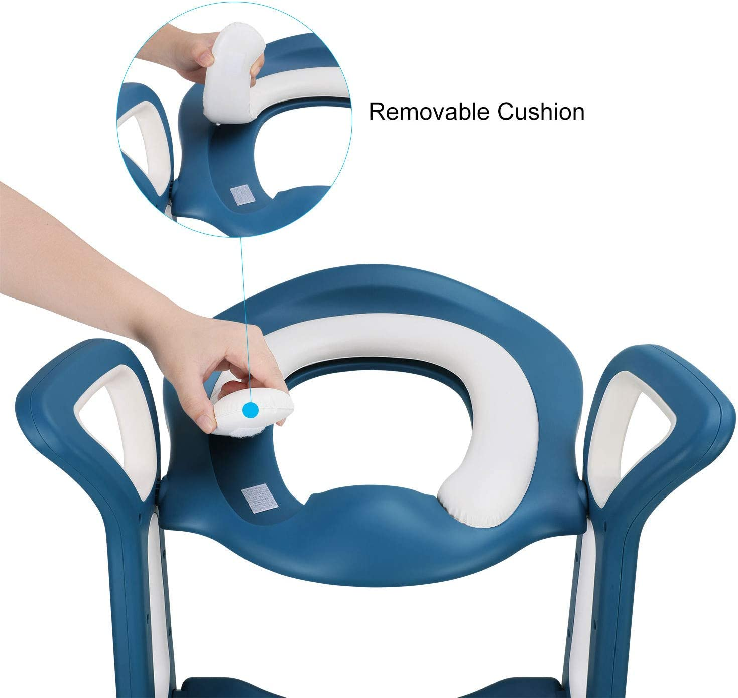 Azul Ajustable con Pasos Fascol Asiento Aseo Escalera para Ni/ños de 1a 8 A/ños Asiento de Inodoro de WC Antideslizante Carga M/áxima 75 kg con Coj/ín de Esponja
