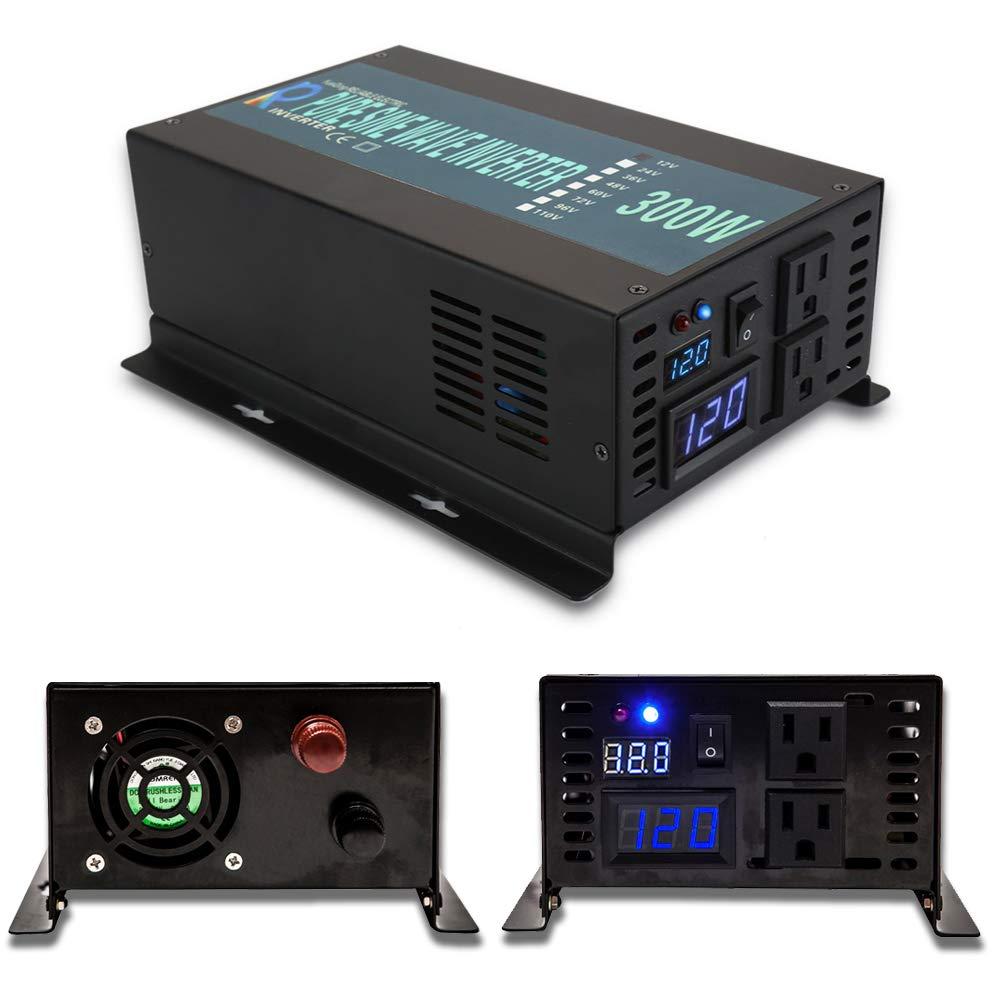 WZRELB 300W 12V DC to 120V AC Pure Sine Wave Solar Power Inverter by WZRELB